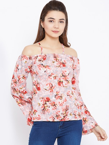 cold shoulder bell sleeved floral top - 15735847 - Standard Image - 1