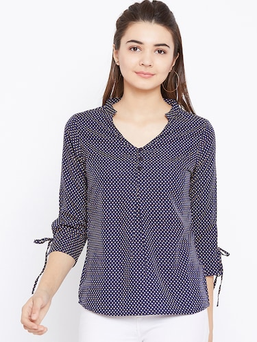 button detail tie up sleeved top - 15735853 - Standard Image - 1