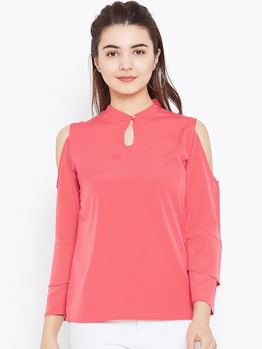 keyhole neck bell sleeved top - 15735856 - Standard Image - 1