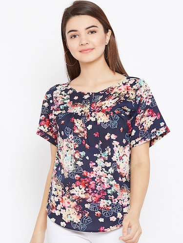 gathered floral short sleeved top - 15735875 - Standard Image - 1
