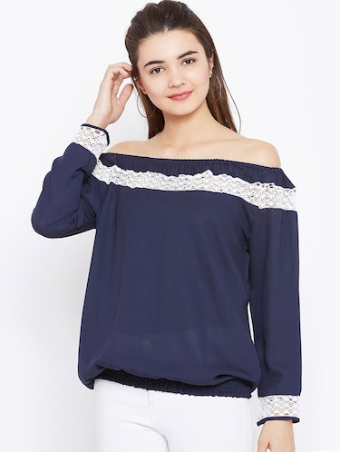 lace insert off shoulder top - 15735879 - Standard Image - 1