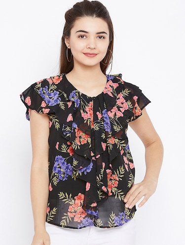 floral ruffled top - 15735885 - Standard Image - 1