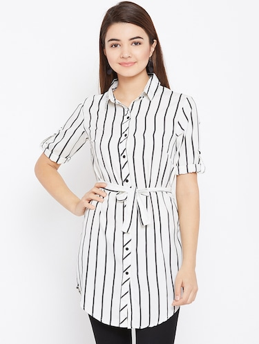 tie up waist striped tunic - 15735898 - Standard Image - 1