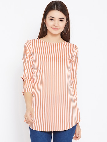 cut out sleeved striped tunic - 15735899 - Standard Image - 1