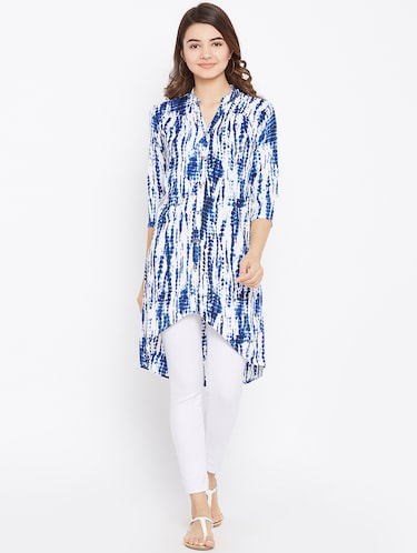 tied and dyed high low tunic - 15735912 - Standard Image - 1
