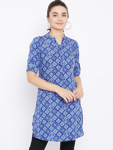 button detail roll up sleeved tunic - 15735913 - Standard Image - 1