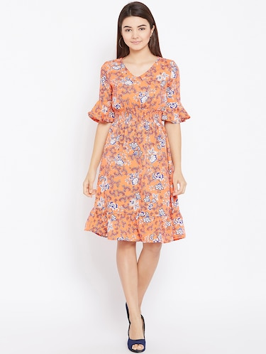 smocked waist bell sleeved dress - 15735932 - Standard Image - 1