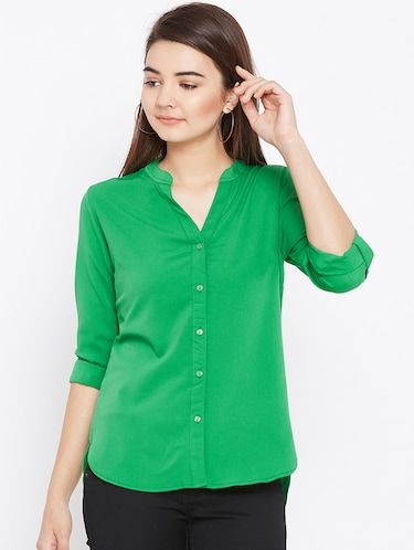 mandarin neck full sleeved shirt - 15735936 - Standard Image - 1