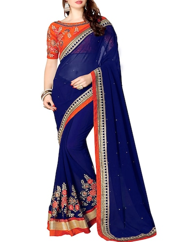 floral embroidered saree with blouse - 15735961 - Standard Image - 1
