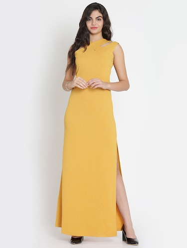 mustard x-neck high slit dress - 15736794 - Standard Image - 1