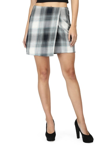 front overlap checkered skirt - 15736808 - Standard Image - 1