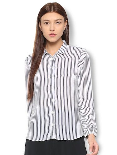 curved hem striped shirt - 15736820 - Standard Image - 1