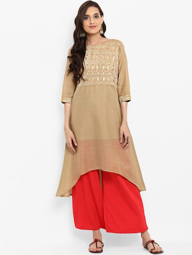 High low foil print kurta - 15737004 - Standard Image - 1