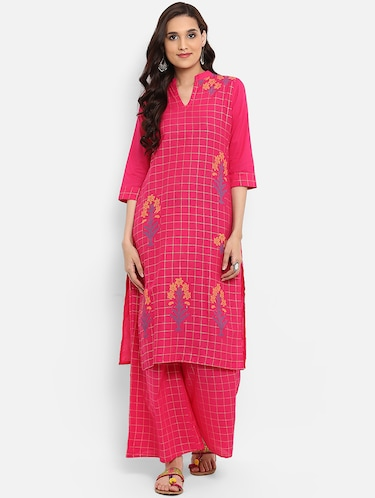 Checkered straight kurta - 15737037 - Standard Image - 1