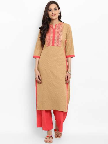 Patch work straight kurta - 15737044 - Standard Image - 1