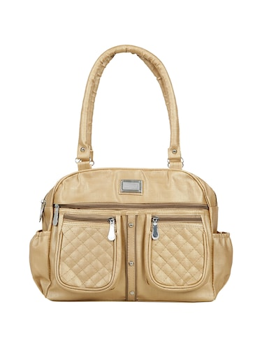 gold leatherette (pu) regular handbag - 15737083 - Standard Image - 1