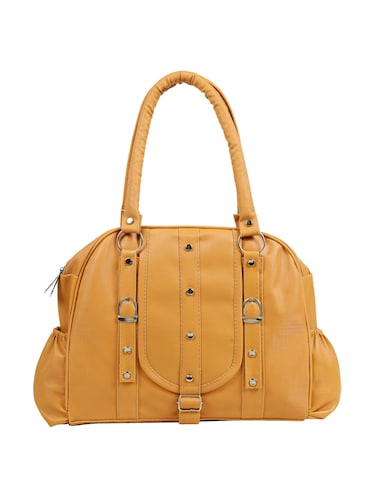yellow leatherette (pu) regular handbag - 15737106 - Standard Image - 1