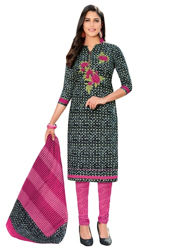Printed unstitched churidaar suit - 15737508 - Standard Image - 1