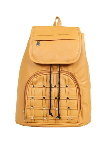 yellow leatherette (pu) fashion backpack - 15737540 - Standard Image - 1