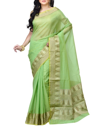 geometrical zari border banarasi saree with blouse - 15737549 - Standard Image - 1