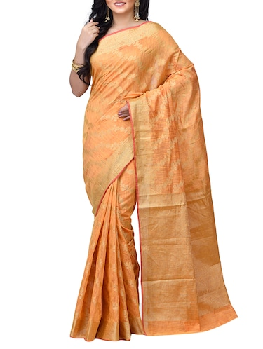 floral chanderi banarasi saree with blouse - 15737557 - Standard Image - 1