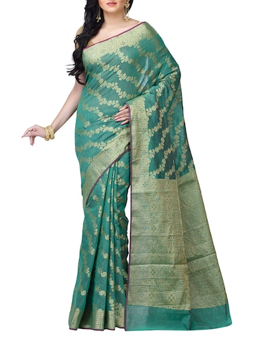floral chanderi banarasi saree with blouse - 15737559 - Standard Image - 1