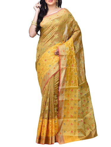 floral chanderi banarasi saree with blouse - 15737563 - Standard Image - 1