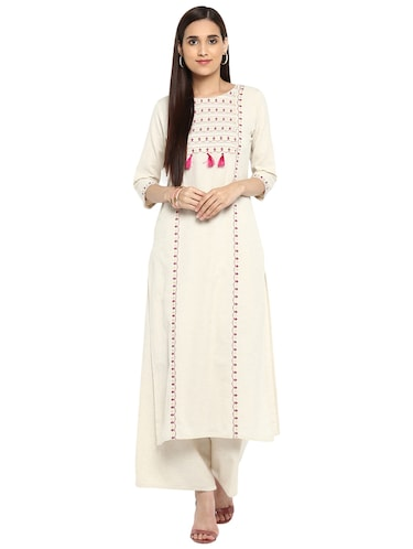 Block printed tassels kurta with palazzo set - 15737597 - Standard Image - 1