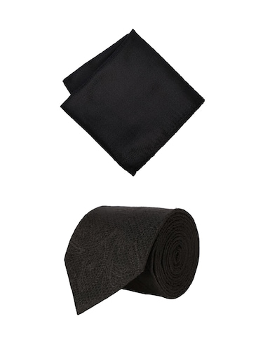 black cotton tie with pocketsquare - 15737812 - Standard Image - 1