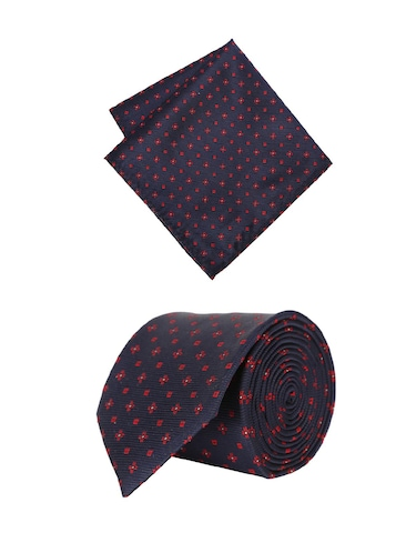 navy cotton tie with pocketsquare - 15737816 - Standard Image - 1