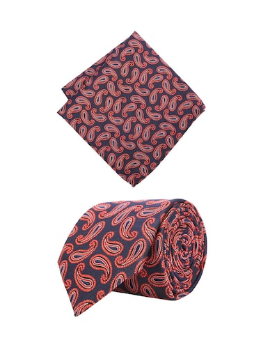 red cotton tie with pocketsquare - 15737820 - Standard Image - 1