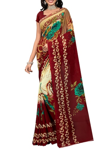 floral printed saree with blouse - 15737910 - Standard Image - 1