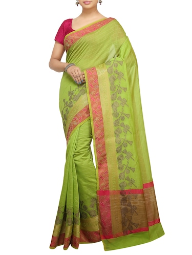 conversational zari border banarasi saree with blouse - 15737951 - Standard Image - 1