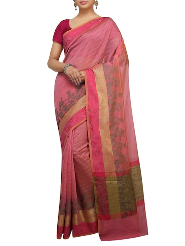 conversational zari border banarasi saree with blouse - 15737954 - Standard Image - 1