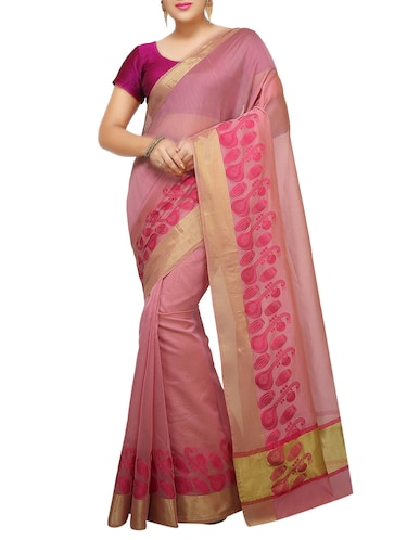 conversational zari border banarasi saree with blouse - 15737986 - Standard Image - 1