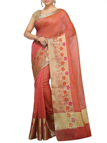 floral zari border banarasi saree with blouse - 15738021 - Standard Image - 1