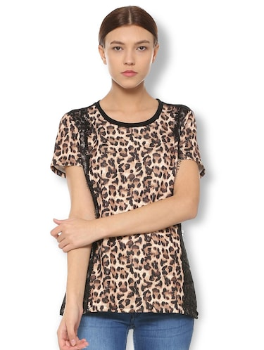 animal print lace trim top - 15738089 - Standard Image - 1