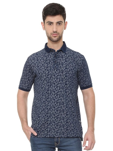 blue cotton all over print t-shirt - 15738161 - Standard Image - 1
