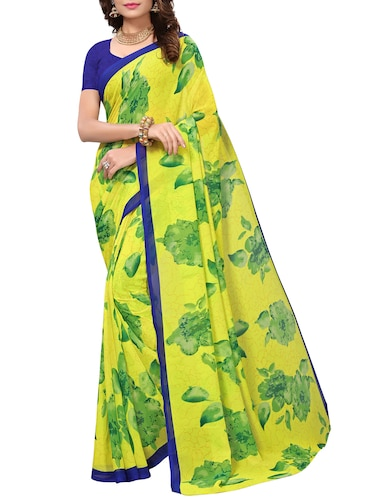 floral printed saree with blouse - 15738170 - Standard Image - 1