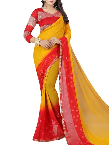 contrast border bandhani saree with blouse - 15738392 - Standard Image - 1