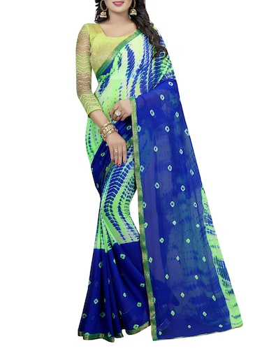 contrast shades shibori saree with blouse - 15738393 - Standard Image - 1