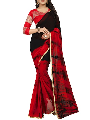 contrast shades shibori saree with blouse - 15738401 - Standard Image - 1