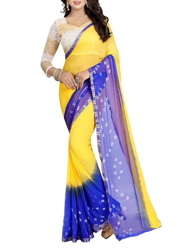 contrast border bandhani saree with blouse - 15738402 - Standard Image - 1
