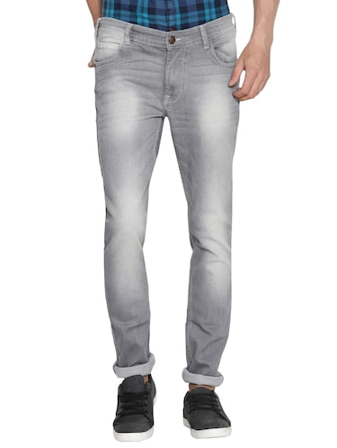 grey cotton washed jeans - 15738815 - Standard Image - 1