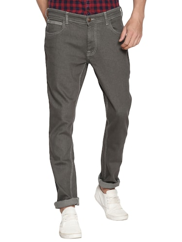 grey cotton plain jeans - 15738816 - Standard Image - 1