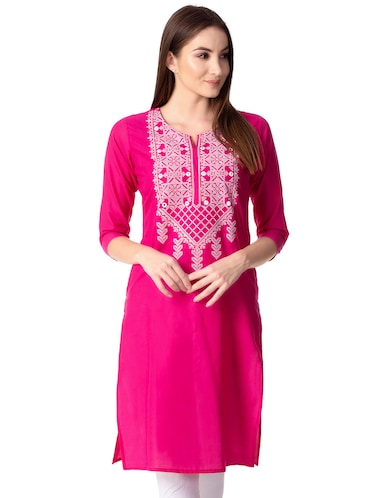 Embroidered straight kurta - 15739047 - Standard Image - 1