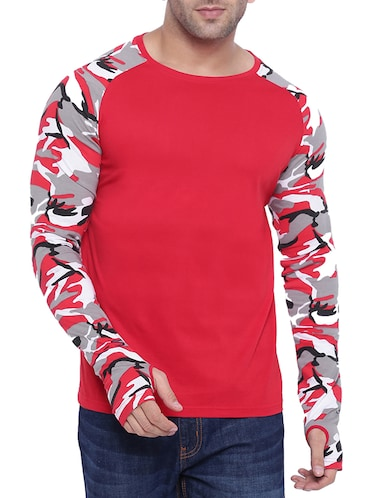 red cotton raglan t-shirt - 15739192 - Standard Image - 1