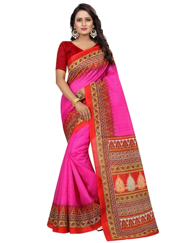 geometrical border bhagalpuri saree with blouse - 15743568 - Standard Image - 1