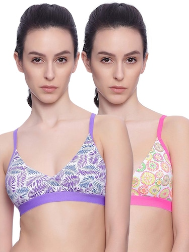 Set of 2 leaf print bras - 15745432 - Standard Image - 1
