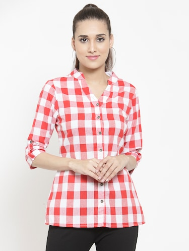 mandarin collar checkered shirt - 15747211 - Standard Image - 1